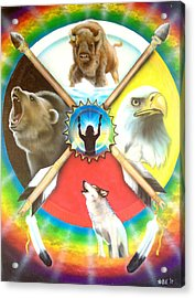 Native American Medicine Wheel Acrylic Print by Amatzia Baruchi