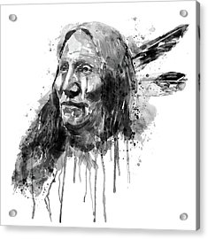 Native American Portrait Black And White Acrylic Print by Marian Voicu