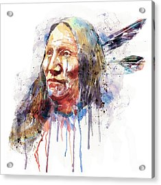 Native American Portrait Acrylic Print by Marian Voicu