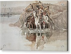 Native American War Party Acrylic Print by Charles Marion Russell