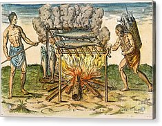 Native Americans: Barbecue, 1590 Acrylic Print by Granger