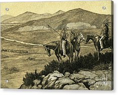 Native Americans Watching A Locomotive Traverse The American West Acrylic Print