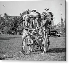 Native Americans With Bicycle Acrylic Print