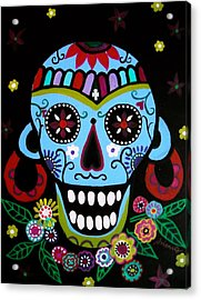 Acrylic Print featuring the painting Native Dia De Los Muertos Skull by Pristine Cartera Turkus