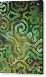 Native Elements In Green Acrylic Print by Mindy Sommers