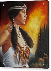 Acrylic Print featuring the painting Native Pride by Harvie Brown