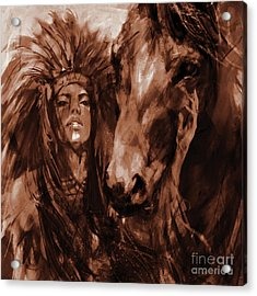 Native Woman With Horse Acrylic Print