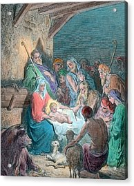 Nativity Scene Acrylic Print by Gustave Dore