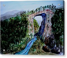 Acrylic Print featuring the painting Natural Bridge In Virginia by Donna Walsh