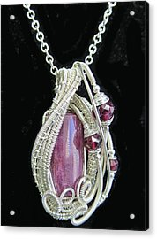 Natural Ruby Gemstone Wire-wrapped Pendant In Sterling Silver With Rhodolite Garnet Rbpss1 Acrylic Print