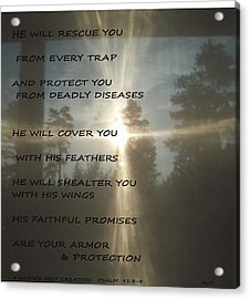 Acrylic Print featuring the photograph Natural Sun Cross Psalm Nlt by Robin Coaker