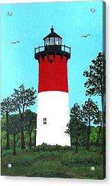 Nauset Lighthouse Tower Painting Acrylic Print by Frederic Kohli