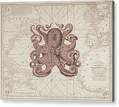 Nautical Octopus Sea Chart Acrylic Print