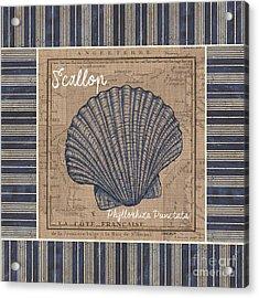 Nautical Stripes Scallop Acrylic Print by Debbie DeWitt