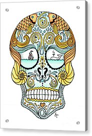 Nautical Sugar Skull Acrylic Print