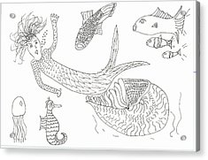 Nautilus And Hello Mermaid Acrylic Print
