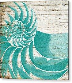 Nautilus Shell Distressed Wood Acrylic Print by Brandi Fitzgerald
