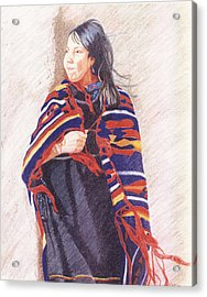 Navajo Girl Acrylic Print by Karen Clark