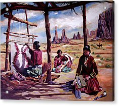Navajo Weavers Acrylic Print by Nancy Griswold