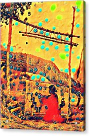 Navajo Woman Weaving 1 Acrylic Print