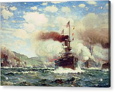 Naval Battle Explosion Acrylic Print by James Gale Tyler