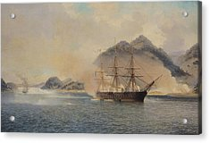 Naval Battle Of The Strait Of Shimonoseki Acrylic Print by Jean Baptiste Henri Durand Brager