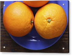 Naval Oranges On Blue Plate Acrylic Print by Donald Erickson