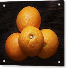 Naval Oranges On Wood Background Acrylic Print by Donald Erickson