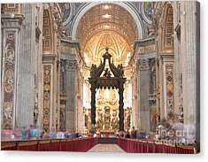 Nave Baldachin Cathedra And People Acrylic Print