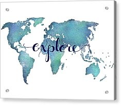 Navy And Teal Explore World Map Acrylic Print by Michelle Eshleman