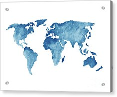 World Map Blue, Navy Kids Room Painting, Watercolor  Baby Boy Nursery Wall Decor Acrylic Print by Joanna Szmerdt
