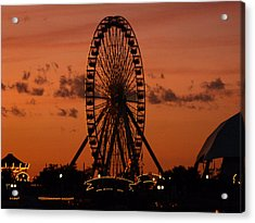 Navy Pier At Sunset Acrylic Print by Jean Gugliuzza