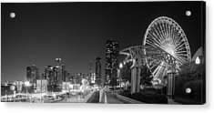 Navy Pier In Black And White Acrylic Print by Twenty Two North Photography