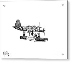 Navy Scout Observation Plane Pen And Ink No  Pi201 Acrylic Print by Kip DeVore