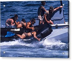 Navy Seals Practice High Speed Boat Acrylic Print by Michael Wood
