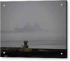 Navy Ships In The Fog Acrylic Print by Tom Hefko