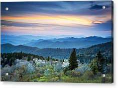 Nc Blue Ridge Parkway Landscape In Spring - Blue Hour Blossoms Acrylic Print