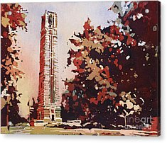 Acrylic Print featuring the painting Ncsu Bell-tower II by Ryan Fox