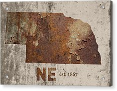 Nebraska State Map Industrial Rusted Metal On Cement Wall With Founding Date Series 039 Acrylic Print by Design Turnpike
