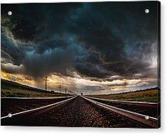 Nebraska Storm Hwy 30 Acrylic Print by Darren  White