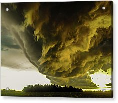 Acrylic Print featuring the photograph Nebraska Supercell, Arcus, Shelf Cloud, Remastered 018 by NebraskaSC