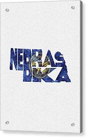Nebraska Typographic Map Flag Acrylic Print