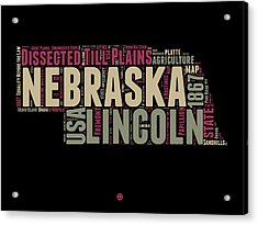 Nebraska Word Cloud 1 Acrylic Print