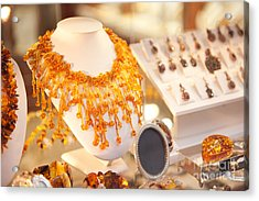 Necklace Of Amber Beads In Shop Acrylic Print by Arletta Cwalina