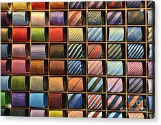 Neckties Displayed In Store Acrylic Print by Sami Sarkis