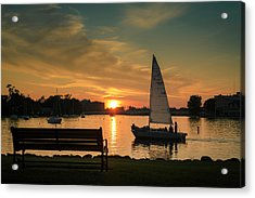 Acrylic Print featuring the photograph Neenah Harbor Sunset by Joel Witmeyer