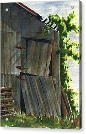 Neighbor Dons Old Barn 3 Acrylic Print by Marsha Elliott