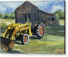 Neighbor Dons Tractor Acrylic Print by Marsha Elliott