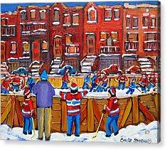 Neighborhood  Hockey Rink Acrylic Print by Carole Spandau