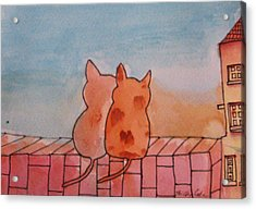 Acrylic Print featuring the painting Neighbourhood Watch by Trilby Cole